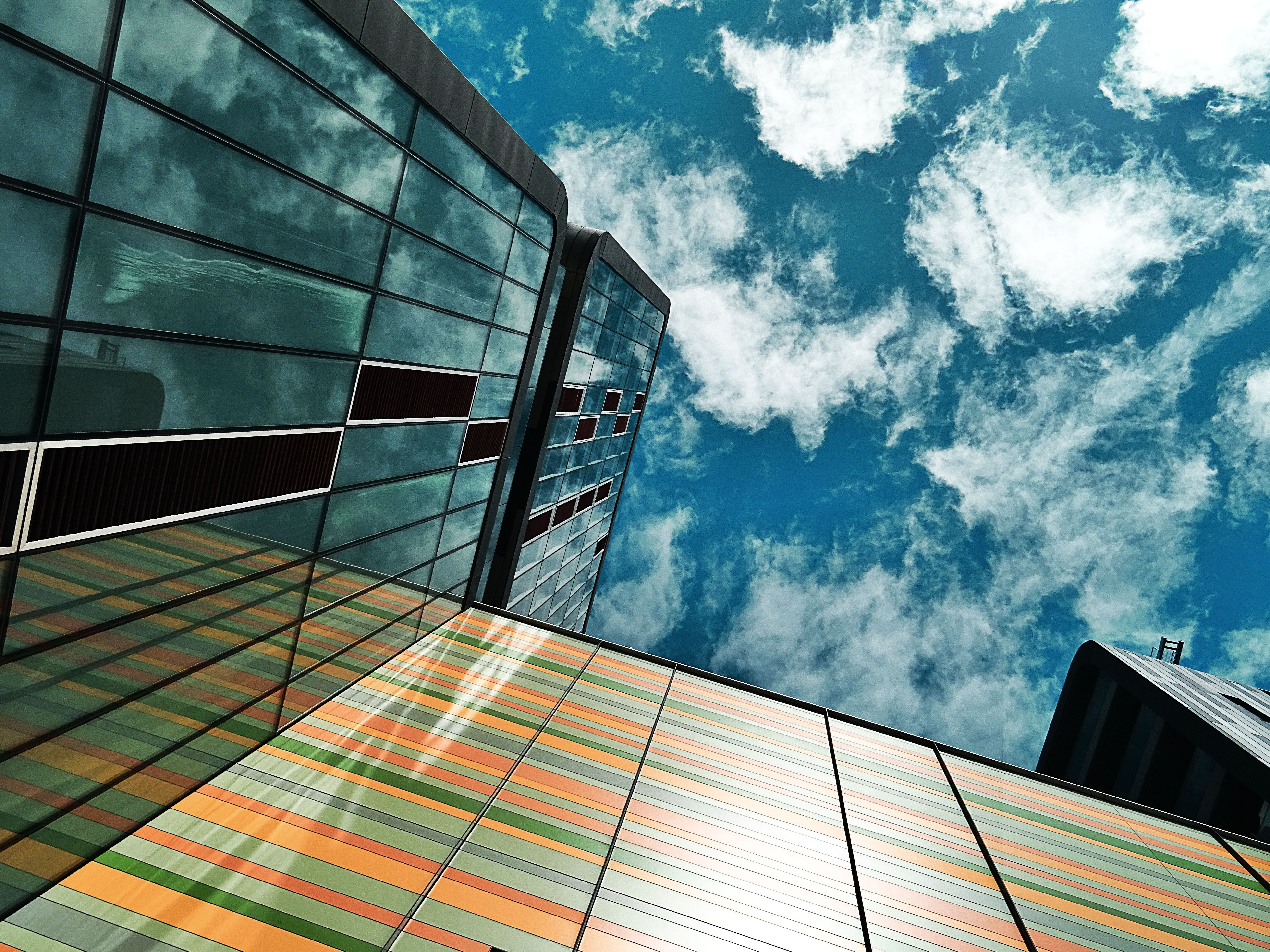 Low Angle and Architectural Photography of Black and Yellow Buildings