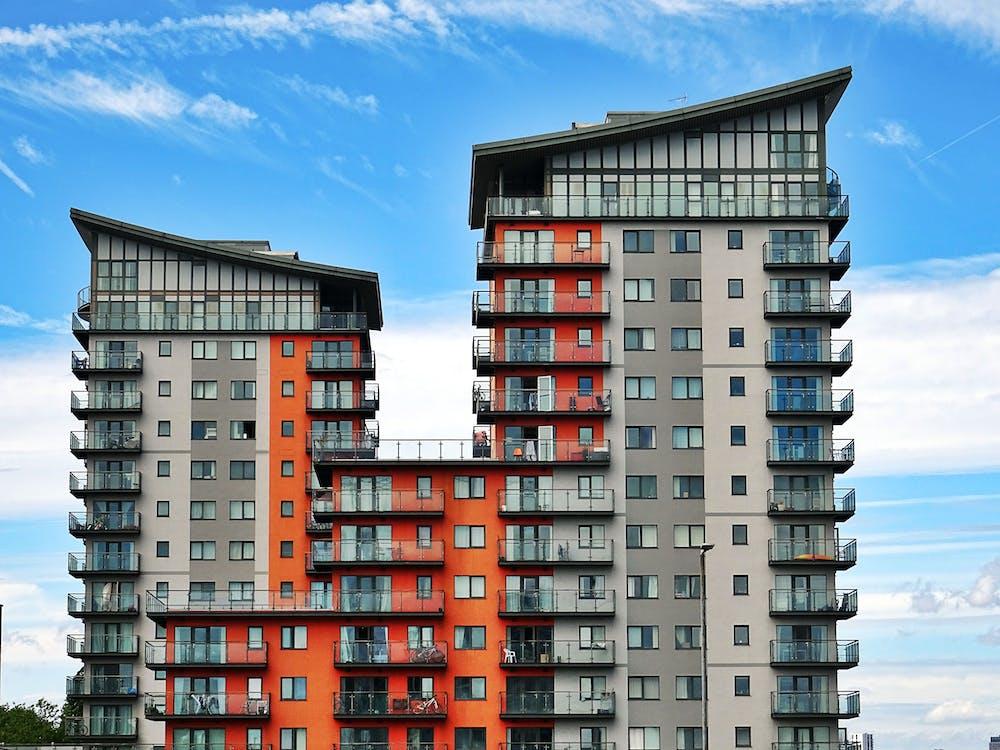 Gray, Red, and Orange Concrete Building