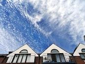 sky, houses, clouds
