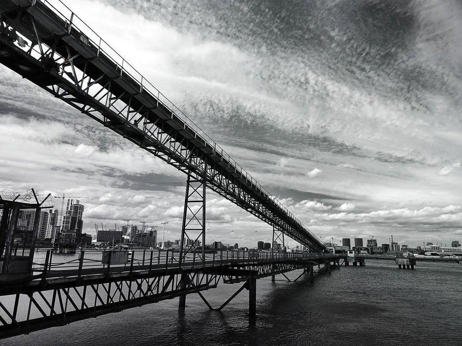 architecture, black-and-white, bridge