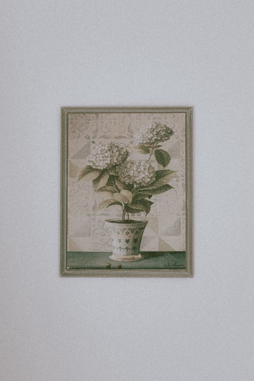 Elegant retro styled painting of gentle potted houseplants in wooden frame hanging on white wall