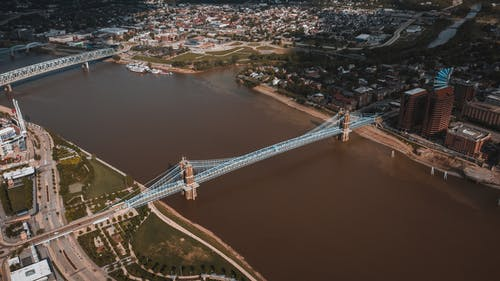 Drone view of bridge and city