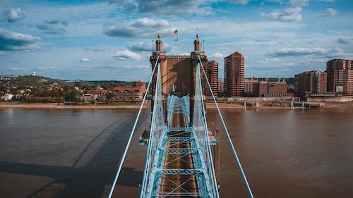Suspension bridge over river on sunny day