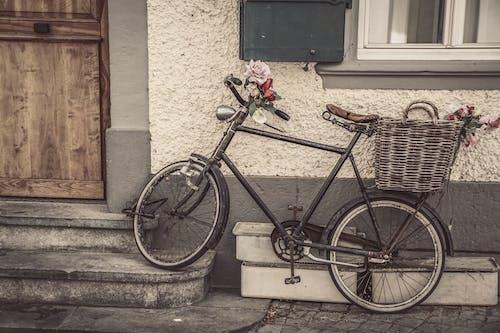 Kostenloses Stock Foto zu blumen, fahrrad, geparkt, korb