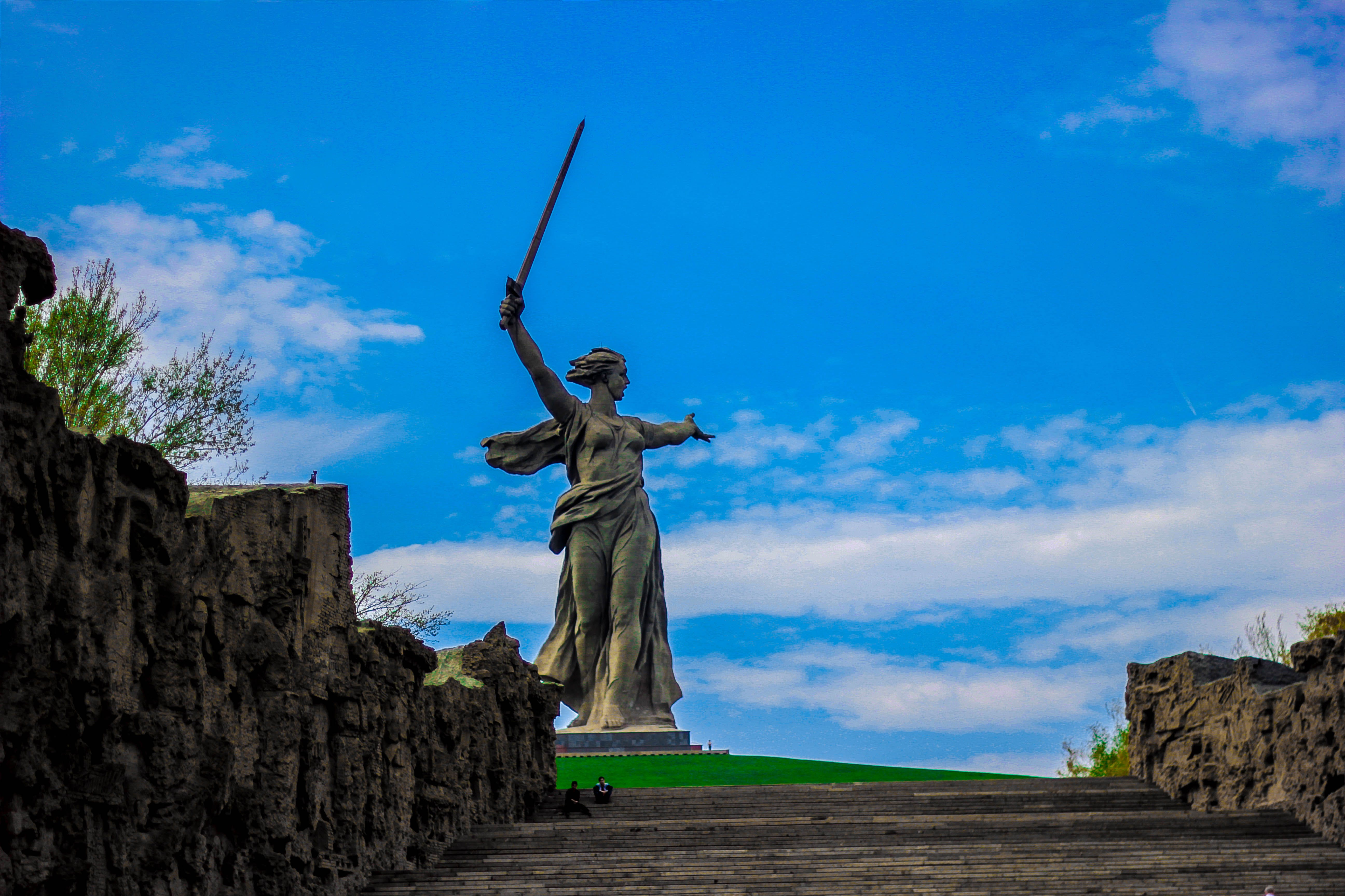 Lady of Justice Statue Under Blue Sky