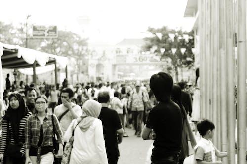 Free stock photo of festival, fun fair, monochrome photography, people