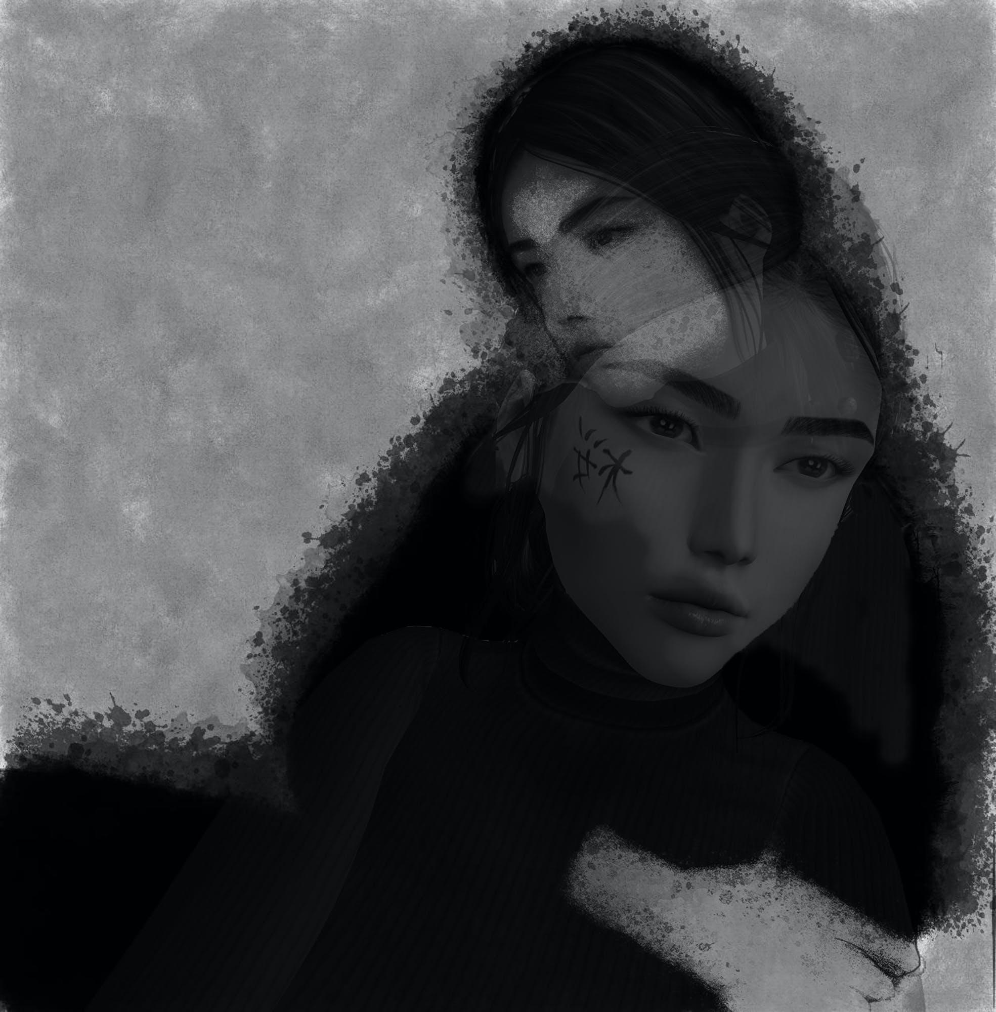 Free stock photo of girl, black and white, digital art