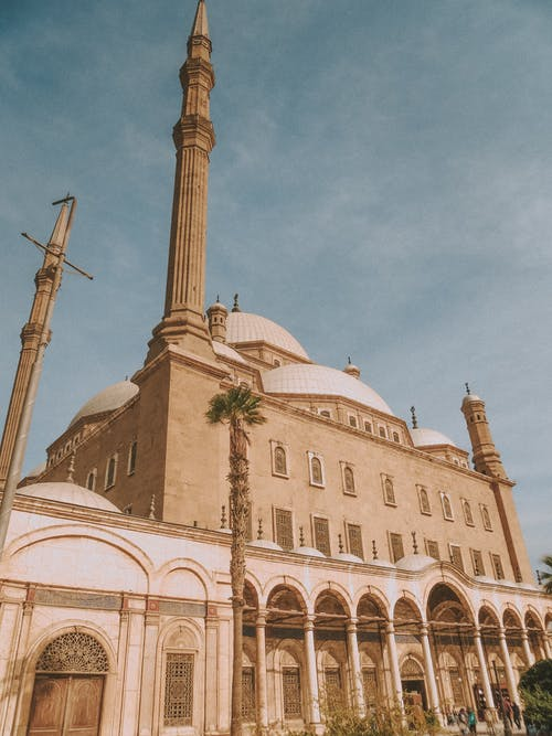 Historical mosque with dome and high towers