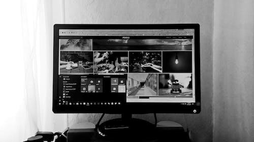 Foto d'estoc gratuïta de blanc i negre, electrònica, escriptori, gent