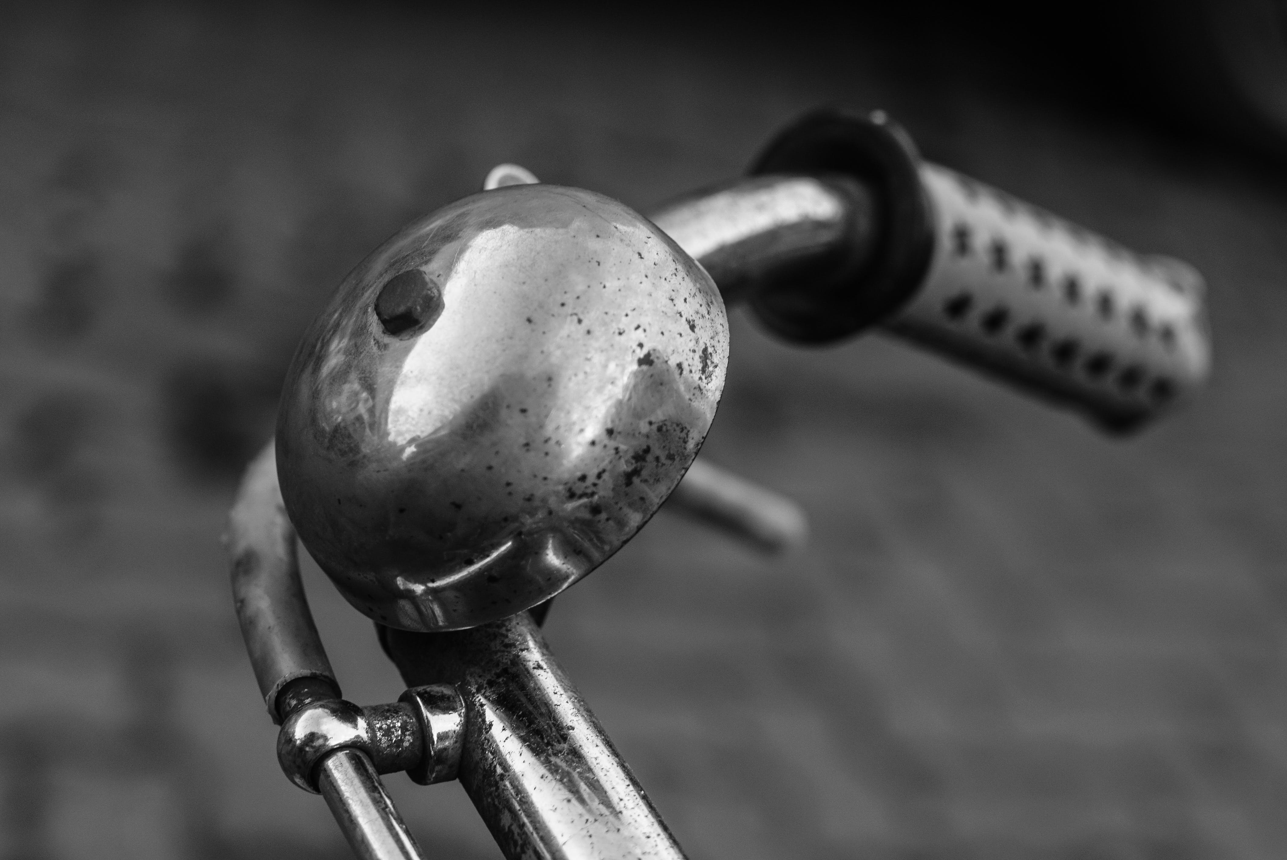 Free stock photo of bell, bicycle, black and white, classical