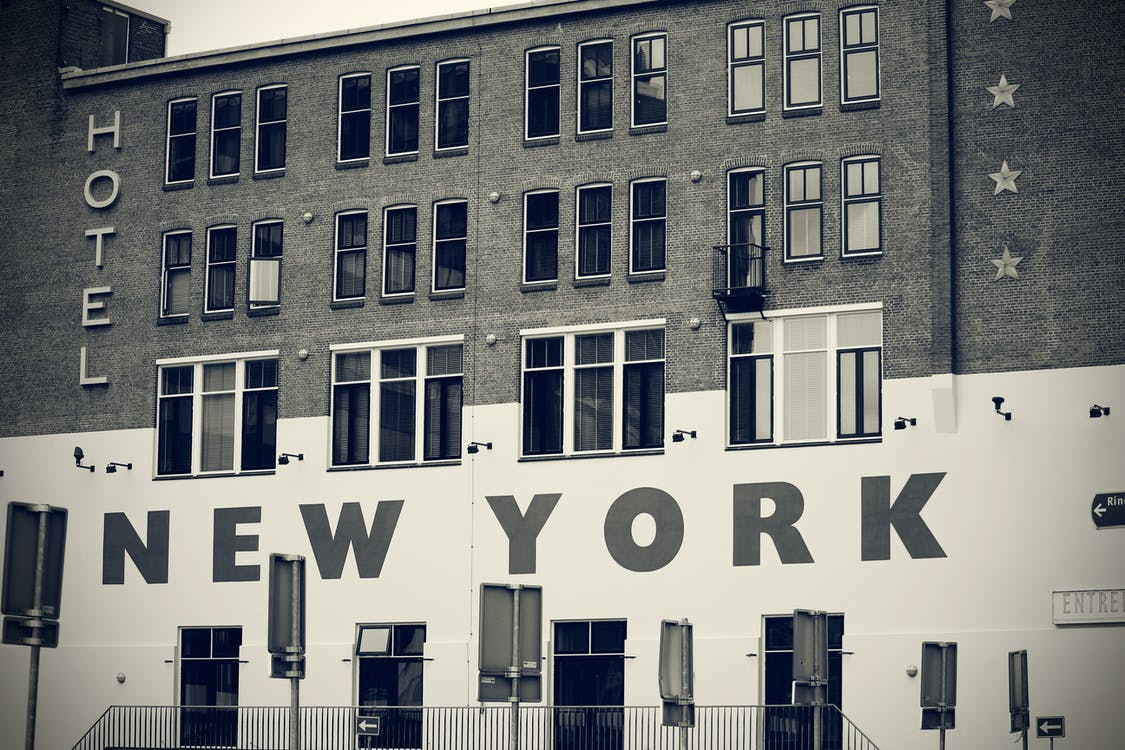 Grayscale Photography of Hotel in New York