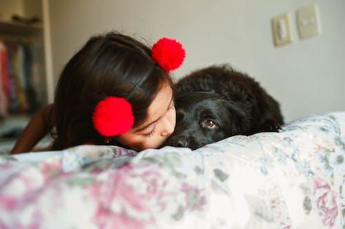 Content girl kissing black Spaniel muzzle