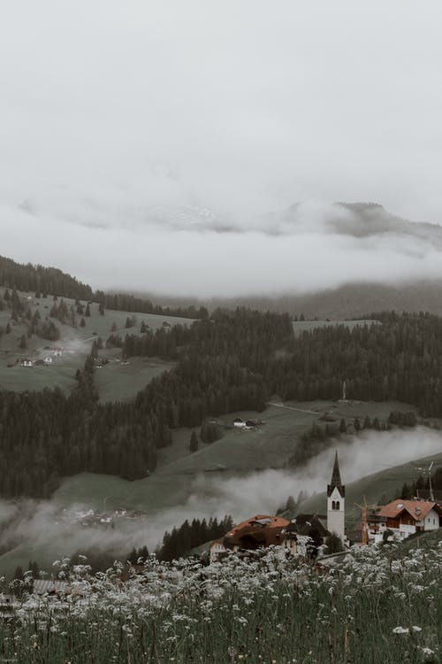 Picturesque valley with traditional village and coniferous forests against cloudy sky