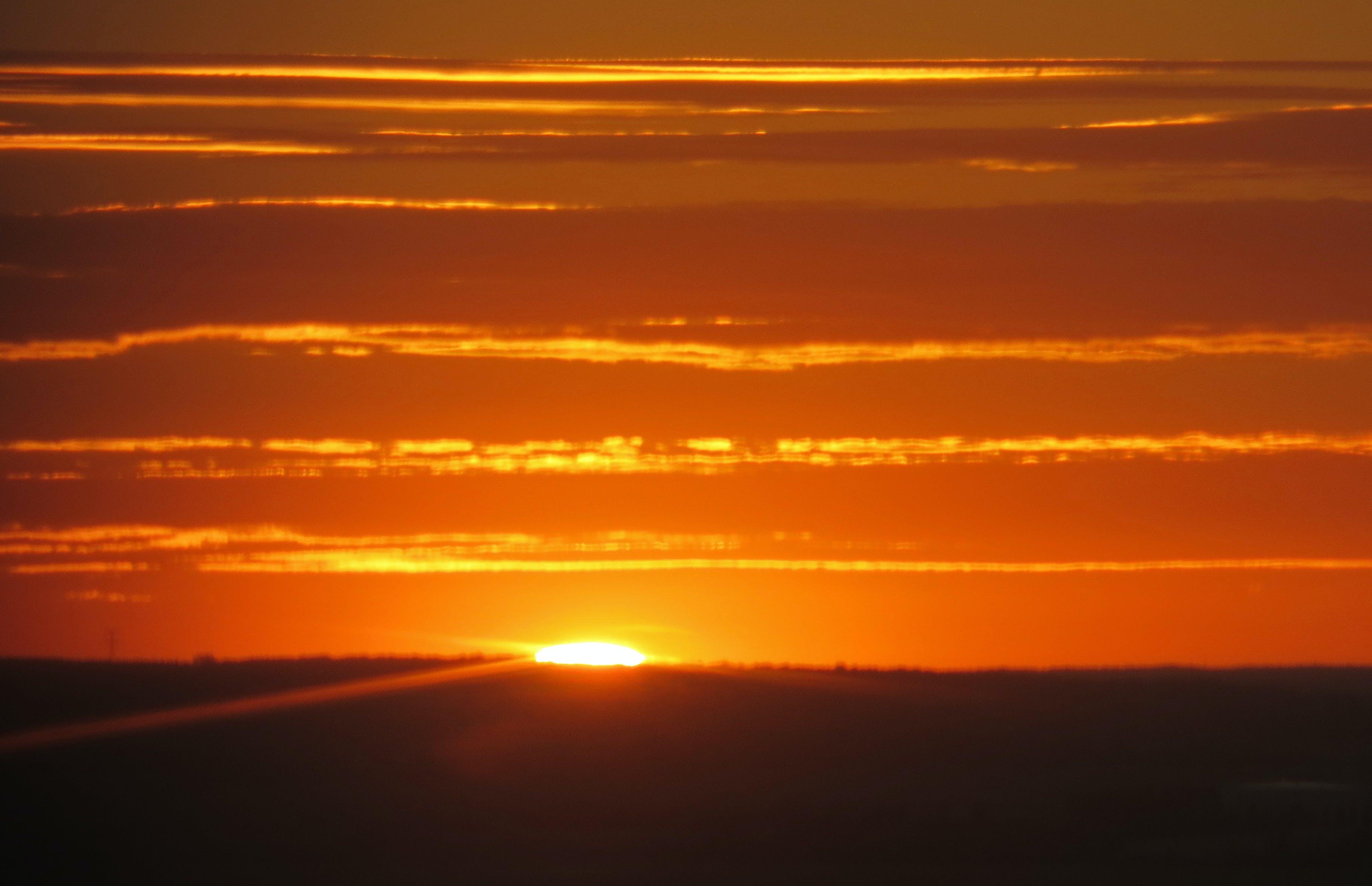 Free stock photo of sunset, clouds, sun, ground
