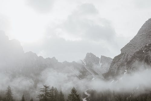 High angle of gloomy scenery with rocky mountains and trees under gray sky