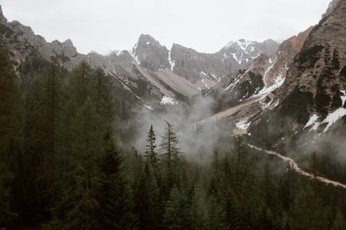High angle of green forest and steep slopes of high mountains in cloudy day