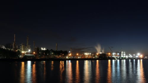 Free stock photo of industrial area, night view