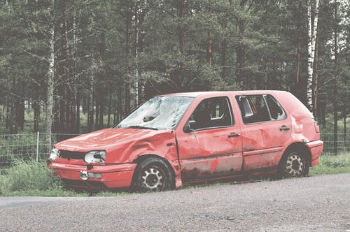 Free stock photo of broken, car, forest, golf