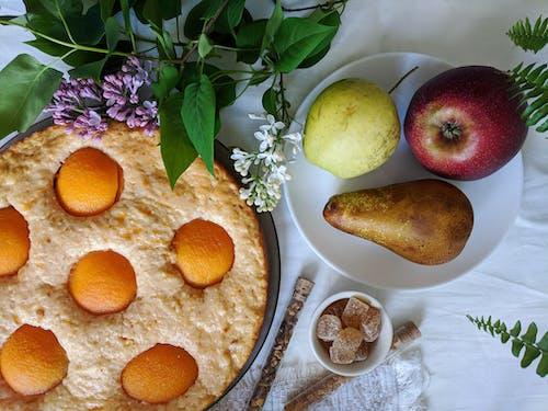 Three Yellow Round Fruits on White Ceramic Plate