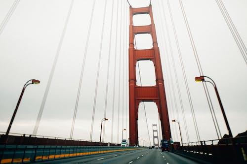 Modern huge suspension bridge on overcast weather