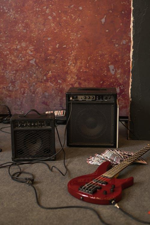 Guitar stage set in rock studio