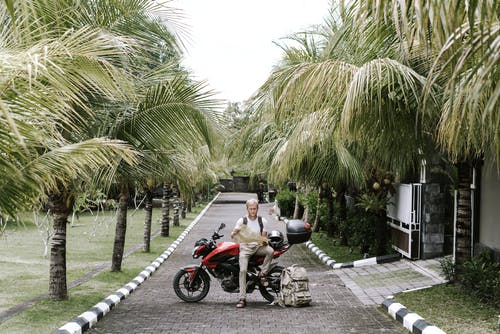 Full length male traveler in casual outfit leaning on motorcycle near duffle bag while studying city map on pavement of street among tropical trees in front of open gates of building