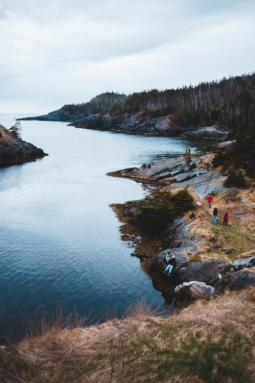Rocky shoreline of lake with lush forest on cloudy day