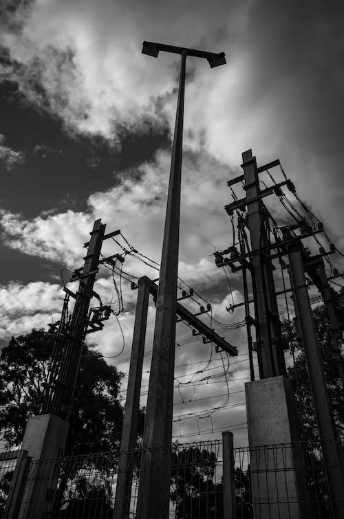 Free stock photo of black and white, cloud, monochrome, railway