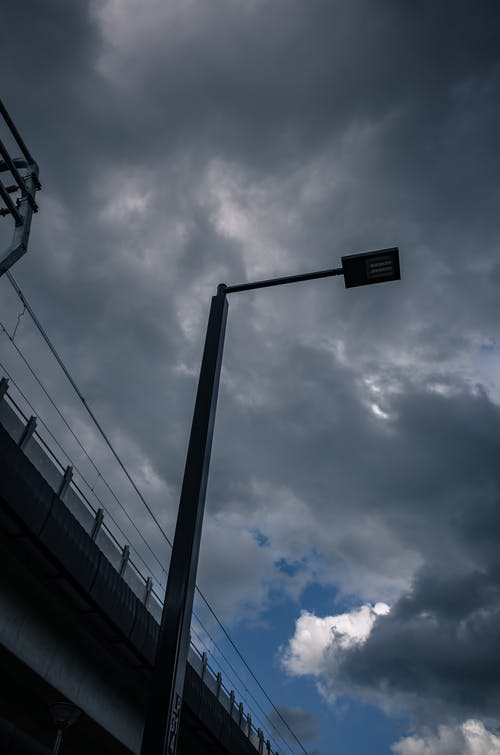Free stock photo of blue, clouds, sky, street lamp