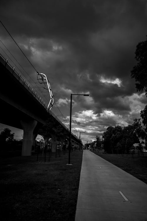Free stock photo of black and white, clouds, monochrome, path