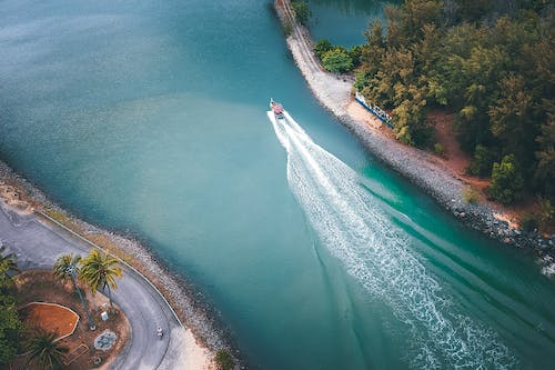 Aerial View of a Boat on a River