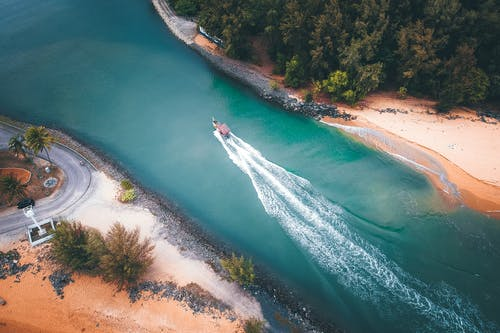 Aerial View of White Boat on Water