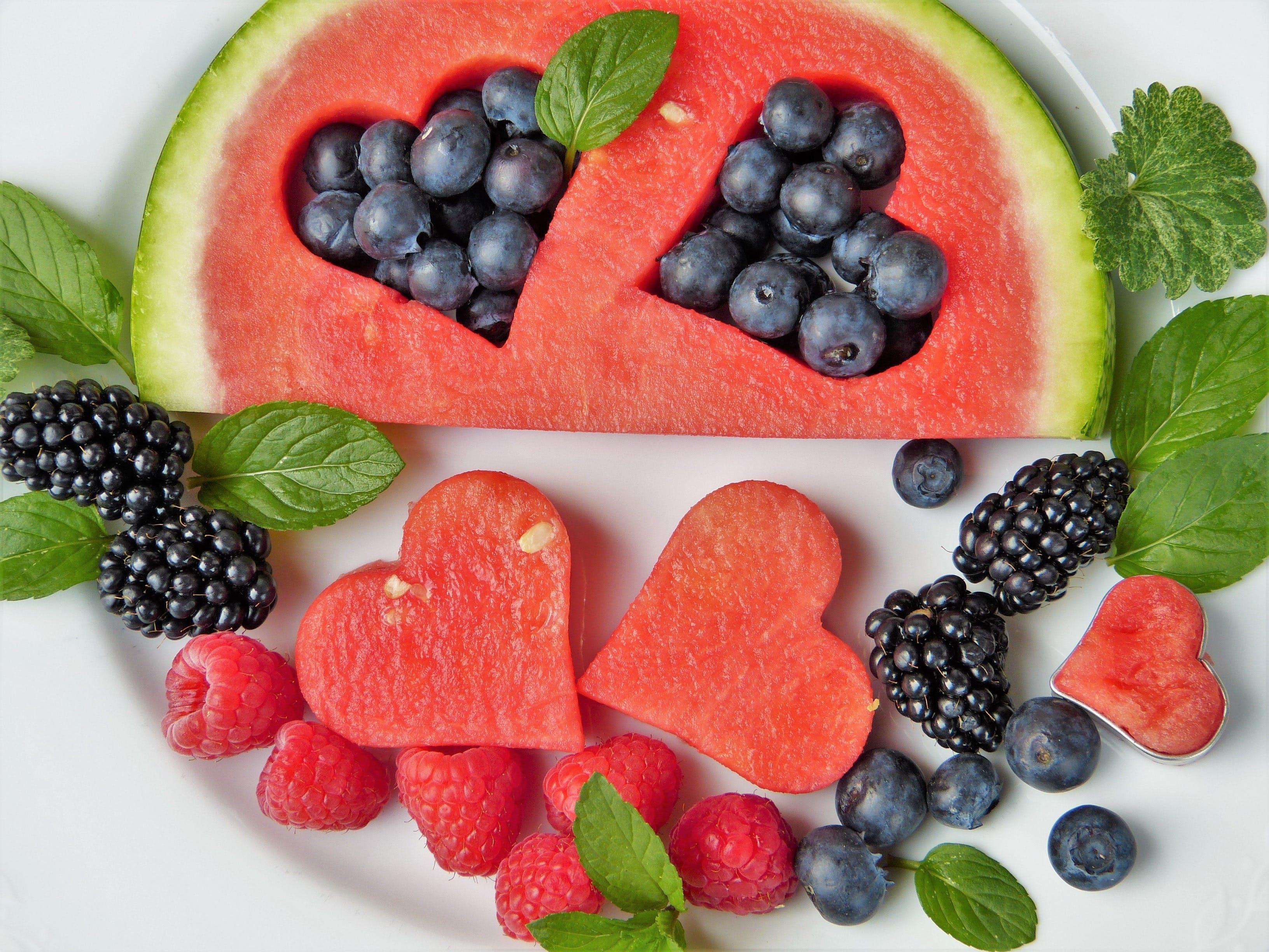 Watermelon, Raspberries, and Blackberries