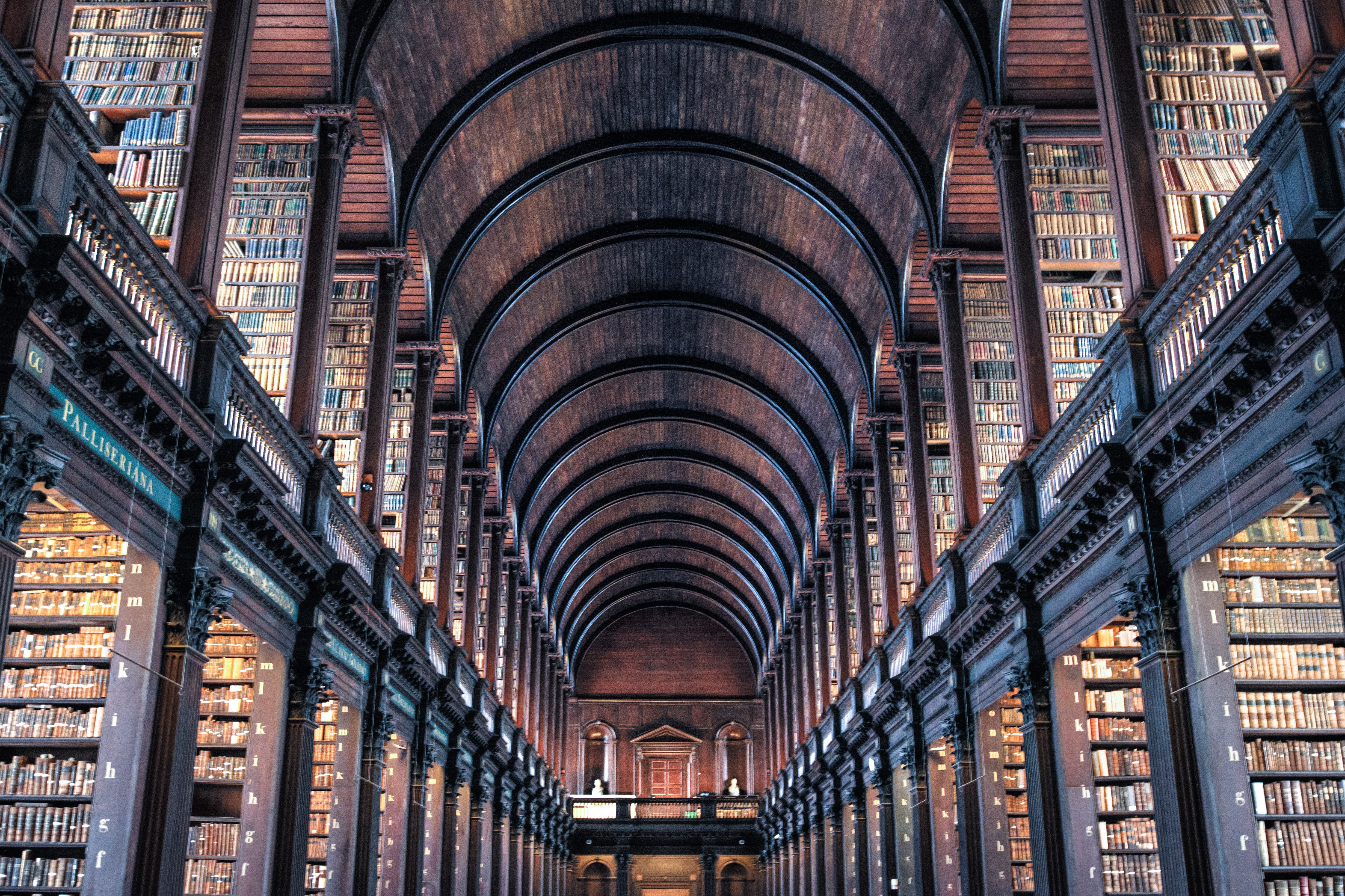 Library Filled With Bookcases Free Stock Photo