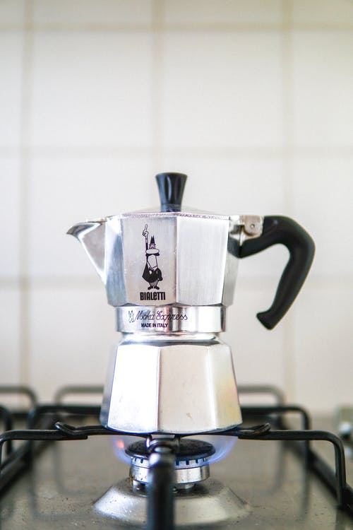 Silver and Black Espresso Machine