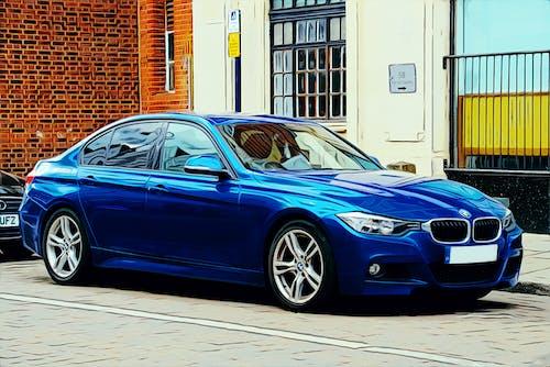 3 시리즈, BMW, 거리 주차, 블루의 무료 스톡 사진