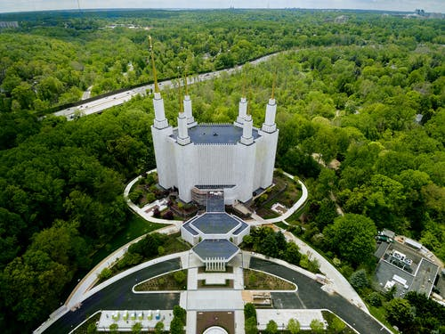 Drone view of majestic temple amidst lush park