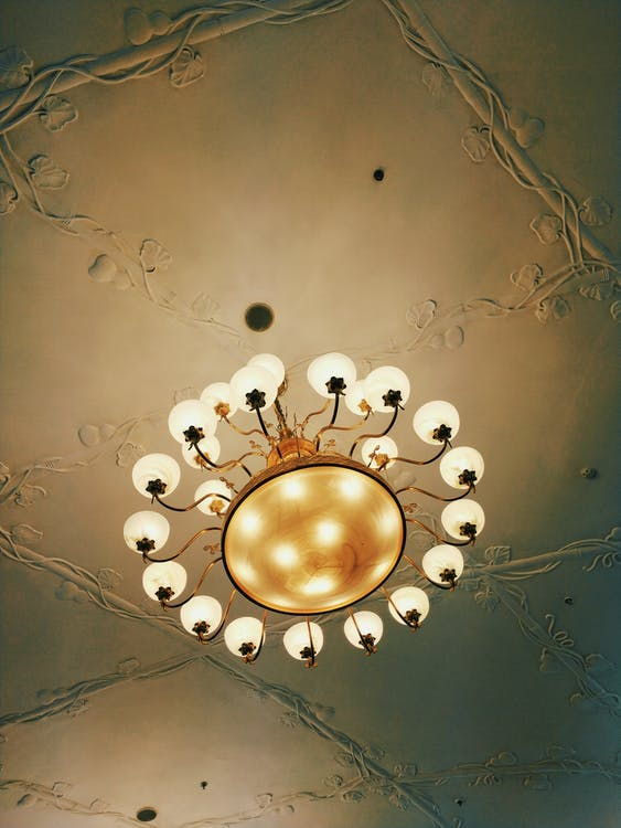 Gold and White Round Chandelier