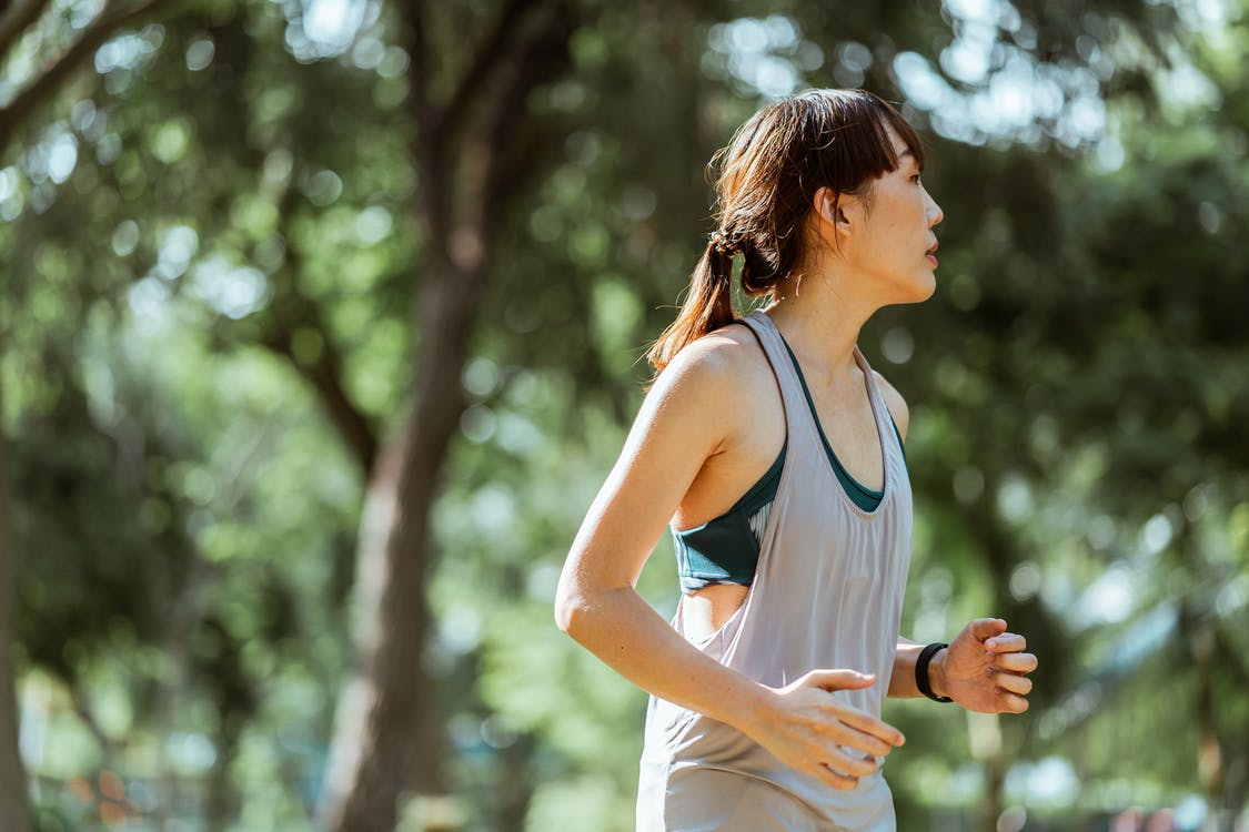 Side view of determined focused Asian female runner in sportswear jogging in green lush park on sunny morning