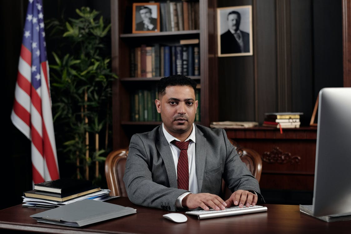 Lawyer Working on his Computer