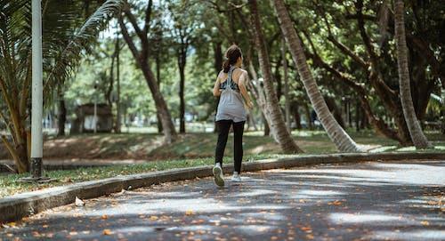 Back view of female in sportswear running on sidewalk in park in warm sunny day