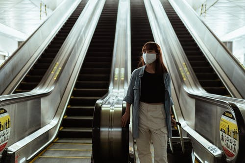 Woman With a Face Mask Going Down an Escalator