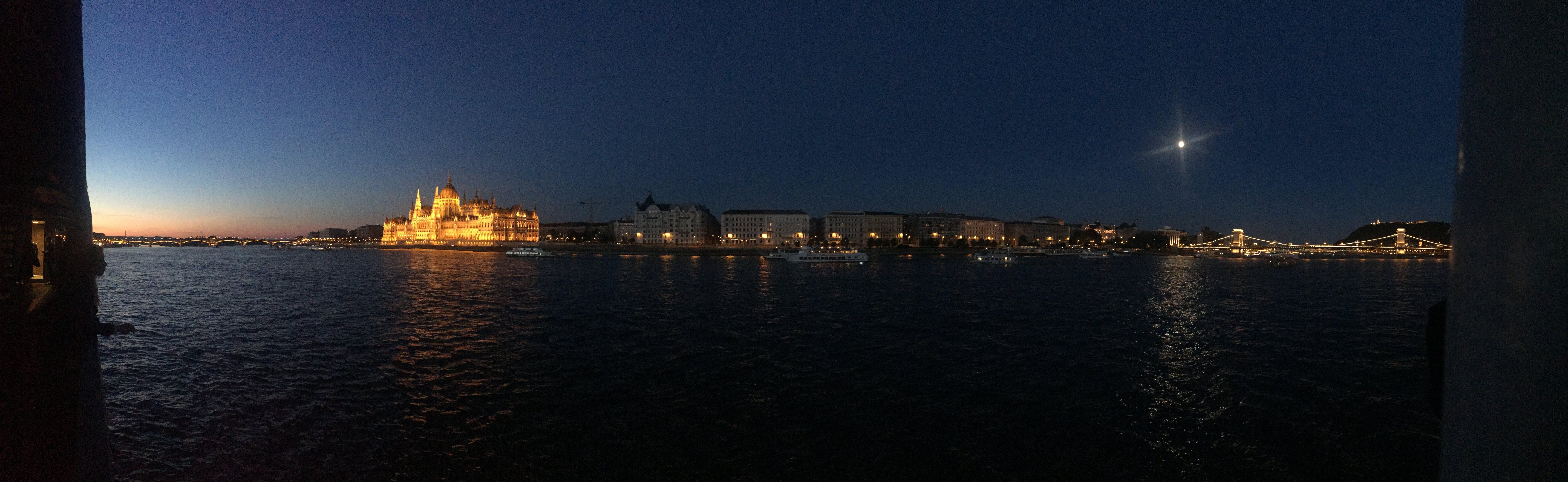Free stock photo of night, bridge, river, moon