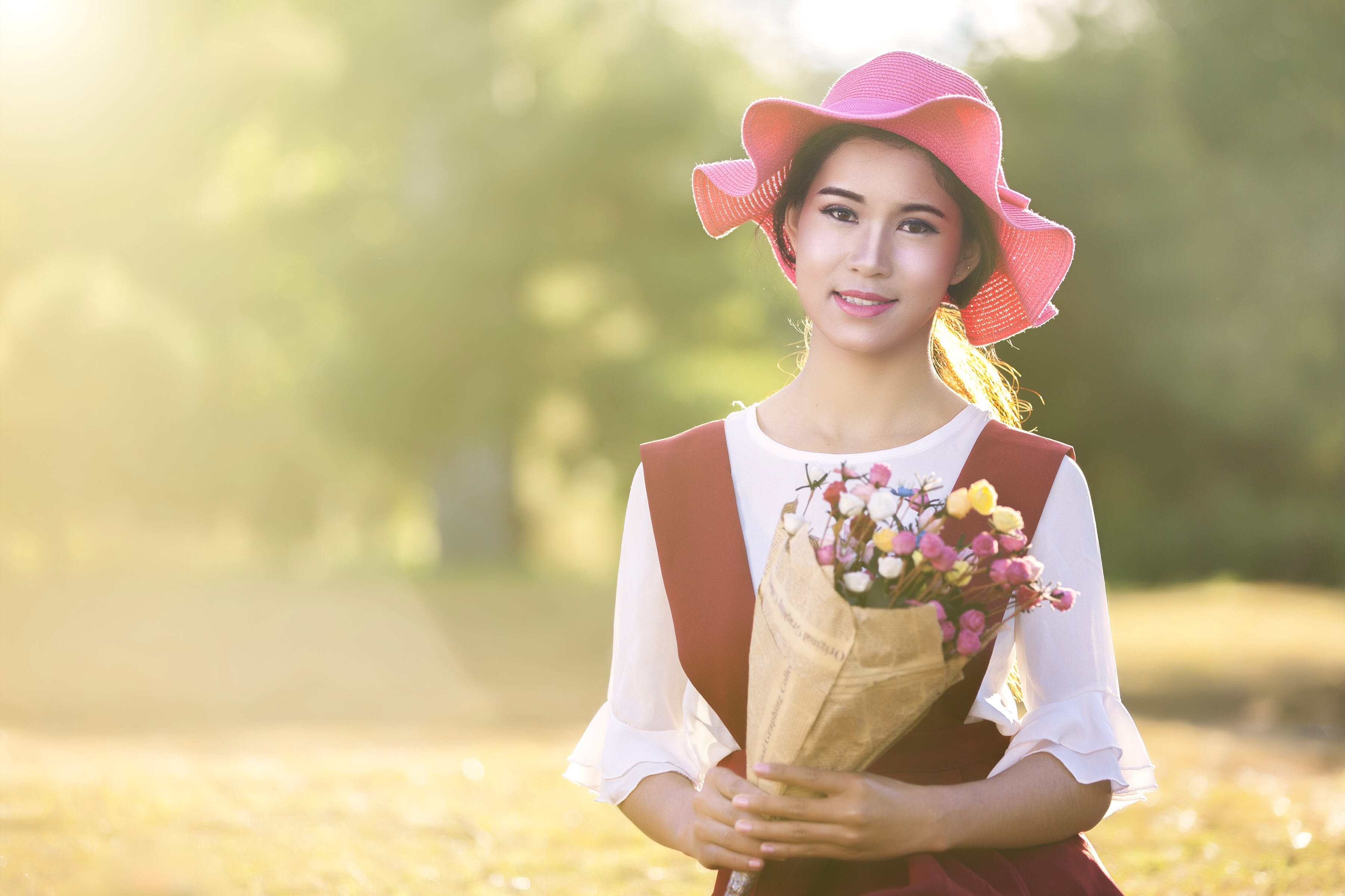 Royalty free images of person, woman, field, flowers