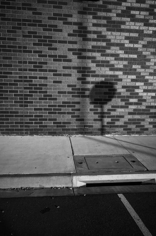 Free stock photo of black and white, brick, concrete, shadow