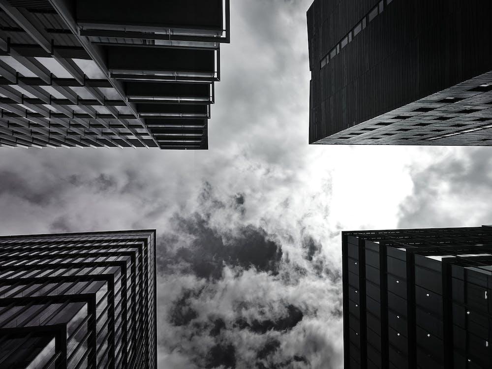 alto, bianco e nero, cielo