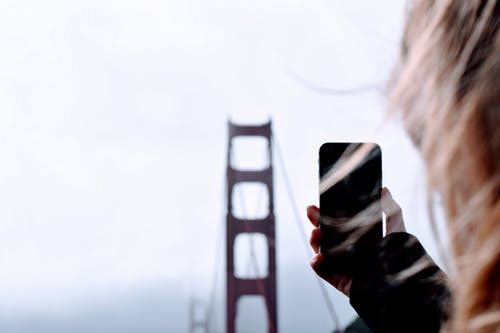 Woman in Golden Gate Bridge in San Francisco, California