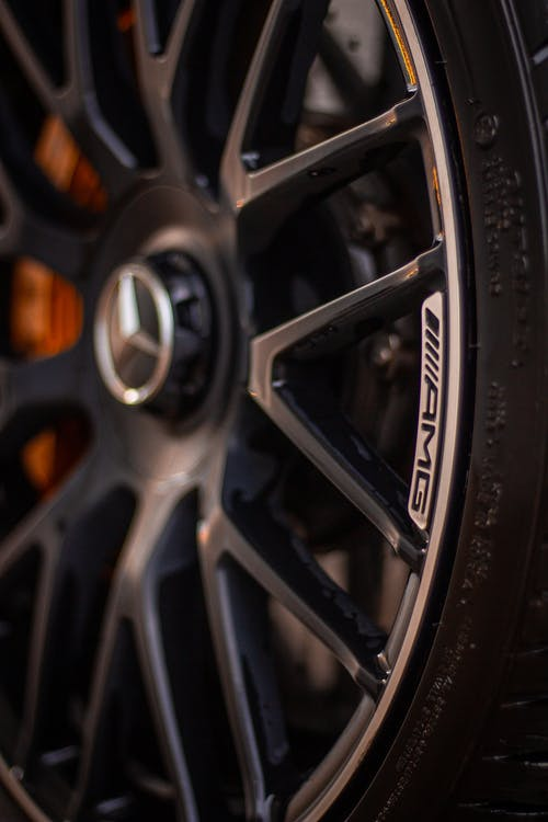 Black and Silver Mercedes Benz Wheel