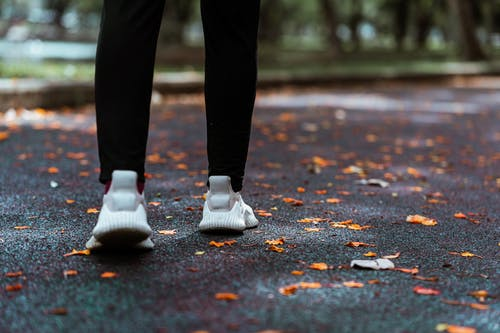 Crop faceless woman in sneakers walking on pavement in park