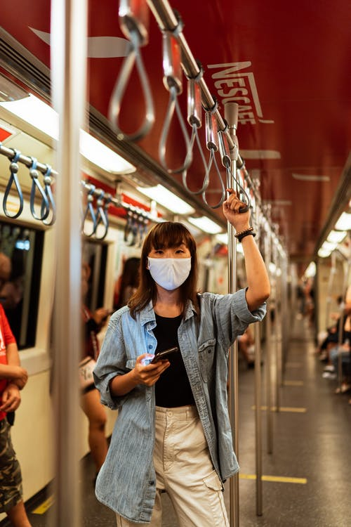 Woman Wearing a Face Mask on the Subway